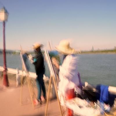 14-La Bouille. Peintres en bord de Seine. Poème La Seine. Ce tirage unique n'est plus disponible.