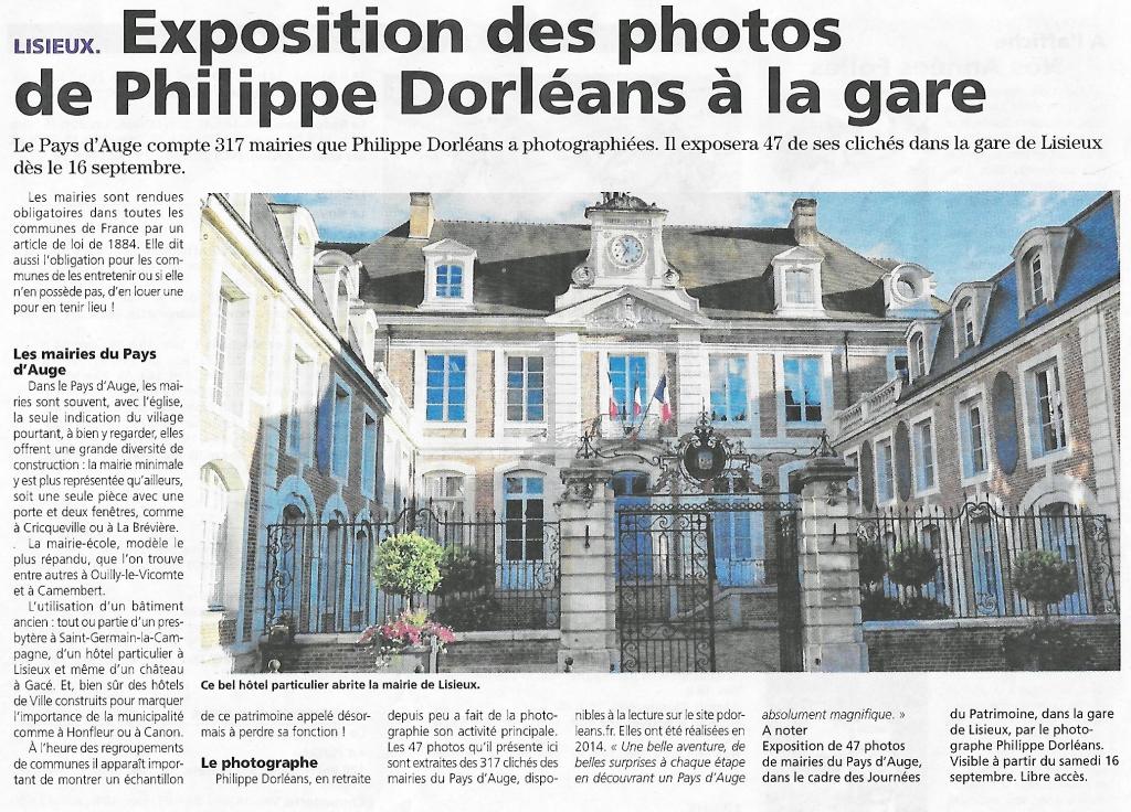 Article de journal sur l'exposition gare de Lisieux