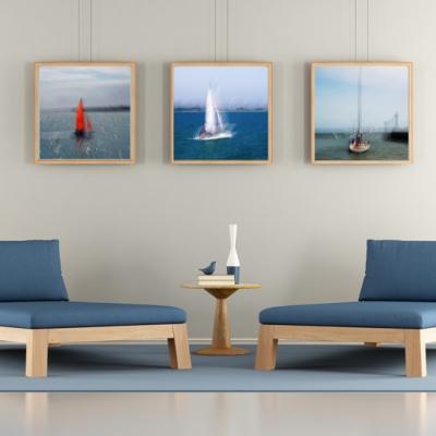 Les 3 petits bateaux. Format 40/40cm. Tirage unique disponible